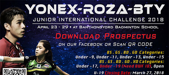 YONEX-ROZA-BTY Junior International Challenge 2018